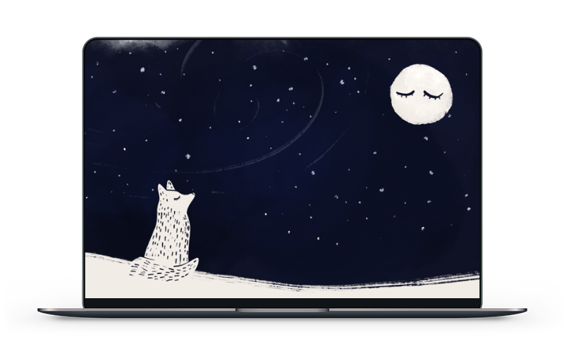 Winter 2019 Wallpaper – fox looking at moon in the snow